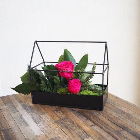 Composition Florale Stabilisée Asia Roses Création Originale de Déco Végétale
